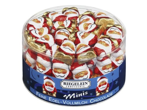 Riegelein Solid Chocolate Santa Minis Drum 33% Cocoa 80ct