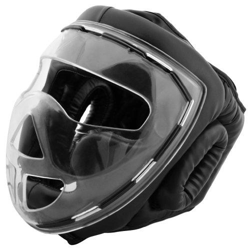 Premium Vinyl Full Face Kopfschutz mit Maske / Visier / Gitter Thaiboxen