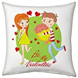 Valentine Gifts for Boyfriend Girlfriend Propose Love Printed Cushion 12X12 Filled Pillow White Be My Valentine Gift for Him Her Fiance Spouse Birthday Anniversary Everyday