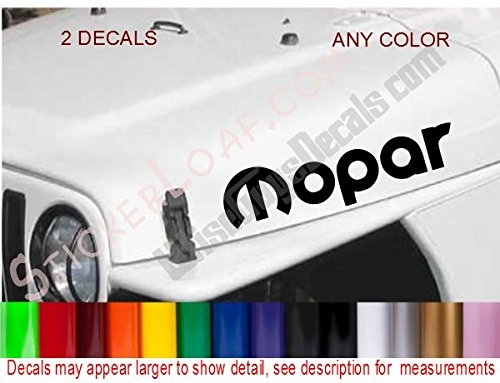 Jeep Mopar Hood Decal Set Of 2 Decals Wrangler 4.0L Renegade Sticker Stickers