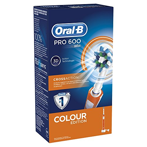 oral b pro 600 orange edition braun crossaction brosse dents electrique rechargeable soins. Black Bedroom Furniture Sets. Home Design Ideas