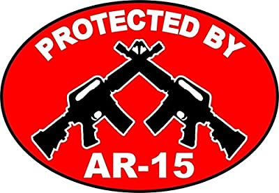 """1Pc Foremost Fashionable Protected by AR-15 Stickers Signs Windows Decal Surveillance Anti-Burglar Size 3.5"""" x 5"""""""