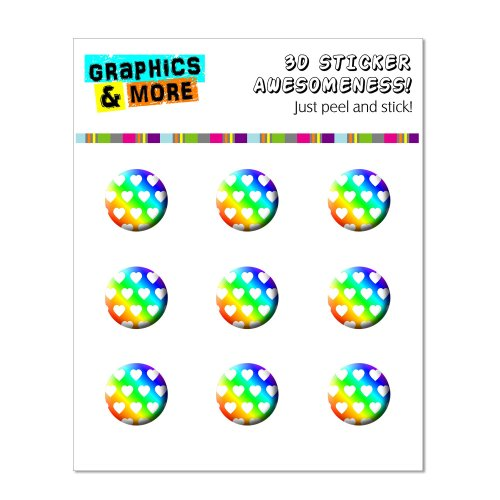 Graphics and More Sweet Heart Pattern Rainbow White Home Button Stickers Fits Apple iPhone 4/4S/5/5C/5S, iPad, iPod Touch - Non-Retail Packaging - Clear
