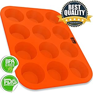 Muffin Pan - 12 Cup 100% Pure Food Grade Silicone Standard Size Muffin Cupcake Baking Pan - Non-Stick, Flexible, Easy To Clean, Unbreakable - Usable In Oven, Microwave, Dishwasher, Freezer - Heat Resistant Up To 445°F - Lifetime Guarantee