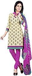 Manmauj Women's Cotton Unstitched Dress Material (MM10068DCRM, Cream)