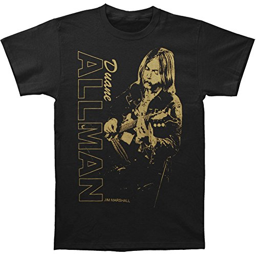 Greucy-darkAllman Brothers Men's Duane Allman Guitar Player Vintage T-shirt Black