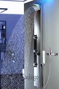 Edelstahl Duschpaneel von Sanlingo. Duschsäule mit Spiegel, Wassefall und Regendusche  BaumarktKundenbewertung und weitere Informationen