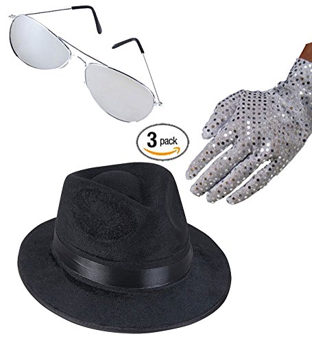 Michael Jackson 80s Set of 3 Kit - Fedora hat, sequin glove and sunglasses.