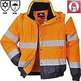 Blouson de Travail haute visibilité orange fluo/marine 2 en 1