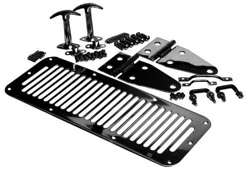 Rampage Jeep 7699 Black Stainless Steel Complete Hood Kit (Jeep Wrangler Hood Tie Down compare prices)
