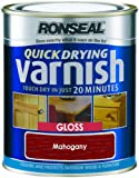 Ronseal QDVGM750 750ml Quick Dry Varnish Coloured Gloss - Mahogany