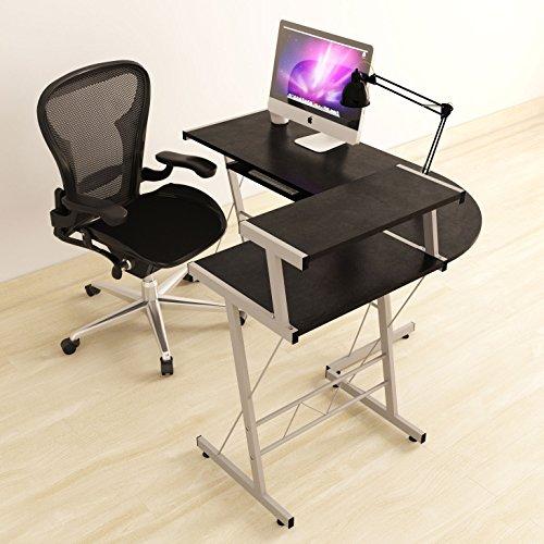 Modern Design Durable L Shape Computer Desk Workstation for Office , Home Office , Dorm Room , Black