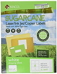 MACO Sugarcane Laser/Ink Jet/Copier White Shipping Labels, 3-1/3 x 4 Inches, 6 Per Sheet, 600 Per Box (SL-0600)