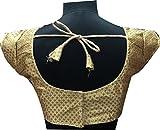 Sai Fashoin Womens brocade Stitched Blouse(61034_Gold_Medium)