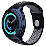 Gear Sport Band / Gear S2 Classic Bands - VIGOSS 20mm Soft Silicone Watch Band Breathable Replacement Strap Fitness Wristband for Samsung Gear Sport Smartwatch (Black/Grey)