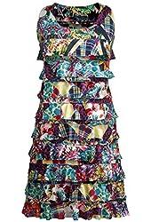 Women's Crazy Patch Cha-Cha Sleeveless Ruffled Dress