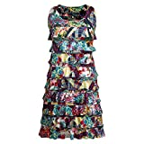 Women's Crazy Patch Cha-Cha Sleeveless Ruffled Dress