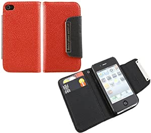 iTALKonline RED BLACK Executive Wallet Case Cover Skin Cover with Credit / Business Card Holder & HAND STRAP For Apple iPhone 4 4S (2011) 4G HD
