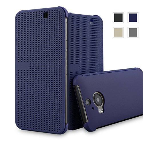 HTC One M9+ dot view case,HTC M9 PLUS Dot View cover(HTC Hima Ultra,HTC Hima Ace Plus,M9pt,) Dot View Cover Flip Protective Case AaBbDd Holster (Blue) (Htc Hima Ace Plus Case compare prices)