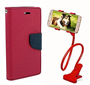 Aart Fancy Diary Card Wallet Flip Case Back Cover For Motorola Moto E - (Pink) + 360 Rotating Bed Tablet Moblie Phone Holder Universal Car Holder Stand Lazy Bed Desktop for by Aart store.