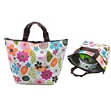 Waterproof Picnic Lunch Bag Tote Insulated Cooler Travel Zipper Organizer Box,Flower