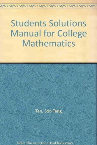 Student Solutions Manual for Tan's College Mathematics