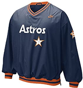Nike Houston Astros Cooperstown Embroidered Beanball V-Neck Windshirt by GametimeUSA