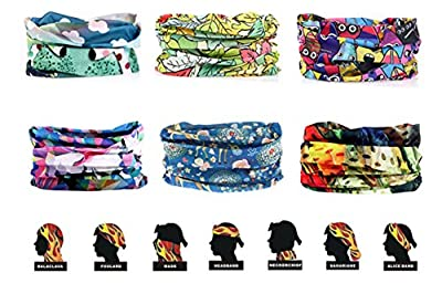 Kalily Pack of 6PCS Headband Bandana Protective Multi-use Seamless Breathable Neck and Head Tube Gaiter. Can Be Used As Neck Warmer, Headband, Bandana, Wristband, Balaclava, Headwrap. For Outdoor Activities Like Fishing Hunting Golf Camping Hiking Sports