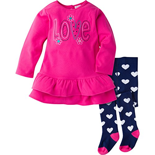Gerber Girls' Toddler Girls' Micro Fleece Dress with Tights, Love, 3T