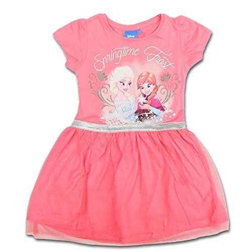 Disney Frozen - Abito Vestito Maniche Corte con Tulle - Bambina - Elsa e Anna - Novità Prodotto Originale 94923225 [Rosa - 6 anni - 116 cm]