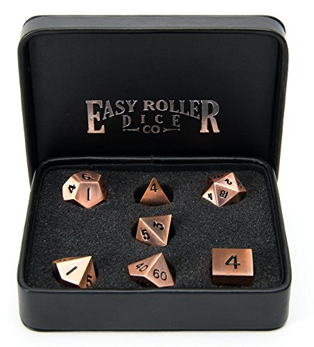 Copper Metal Polyhedral Dice Set | 7 Piece | Professional Edition | FREE Display Case | Hand Checked Quality Control and Precision Machining Accuracy