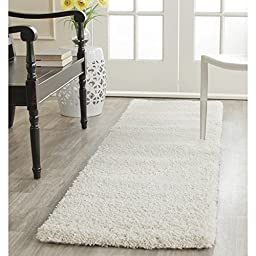 Safavieh Milan Shag Collection SG180-1212 Ivory Runner, 2 feet by 6 feet (2\' x 6\')