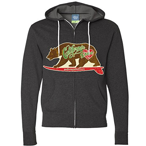 California Love Vintage Surfboard Zip-Up Hoodie By Dsc - Charcoal Heather Small front-484200