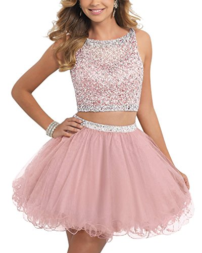 BessDress Short Two Piece Tulle Prom Dresses Beaded Bodice Homecoming Dress BD077