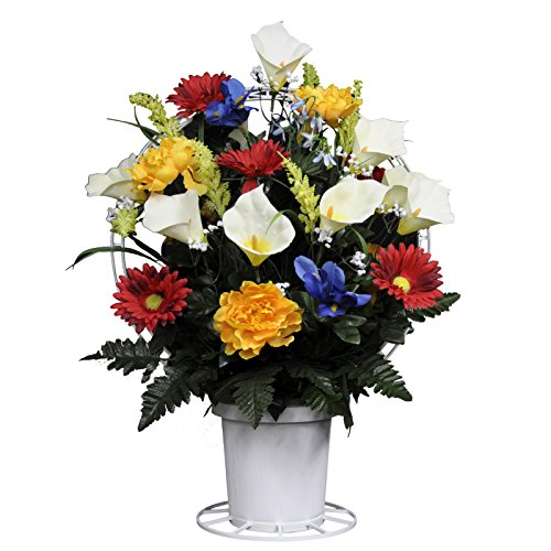 Red Yellow Blue White Silk Flower Basket by Sympathy Silks® (BA1559) (Funeral Flowers With Basket Stand compare prices)