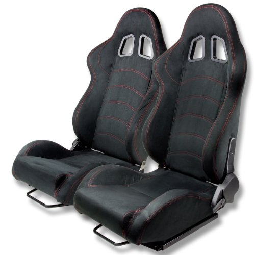 Type-One Luxury Suede Sport Racing Seats with Red Stitch (Pair of Black)