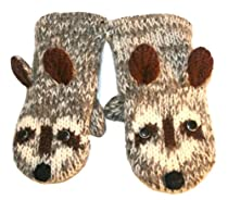 DeLux Grey Raccoon Wool Animal Mittens