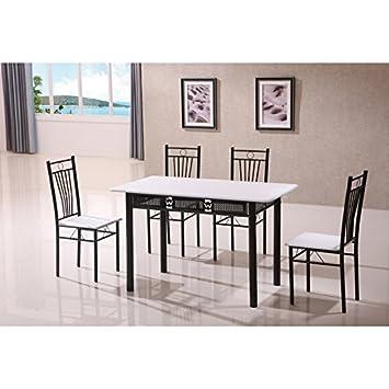 Nuevo diseño moderno blanco y negro cocina mesa de comedor y 4sillas 5piezas