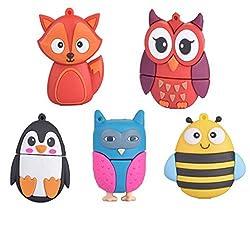 Chengcaifengye The Cute Fox Bee Owl Penguin pen External Storage Drive Flash Card