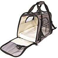 Airline Approved Pet Carrier, Soft Sided Luxury Portable Pet Travel Carrier for Under Seat Storage. Perfect for Small Dogs, Cats and Puppies. Bonus Seat Belt Straps for use as Pet or Dog Car Seat