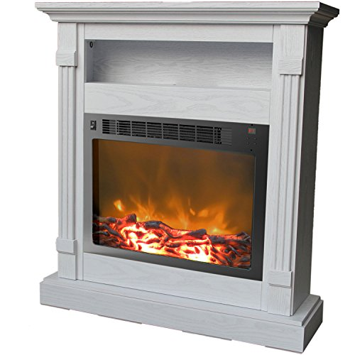 Cambridge Sienna Fireplace Mantel with Electronic Fireplace Insert, White (Fireplace Insert Surround compare prices)