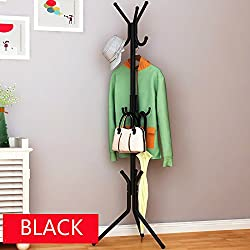 wrought iron coat hanger rack creative fashion bedroom for hanging clothes shelves, wrought iron racks standing coat rack - (Black)