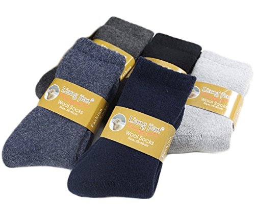 Lovely Annie Women's 4 Pairs Extra Thick Wool Socks Solid(Black) (Extra Thick Womens Socks compare prices)