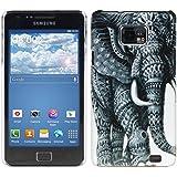 kwmobile® Funda Hardcase Diseño elefante para Samsung Galaxy S2 i9100 / S2 PLUS i9105 en Negro Blanco