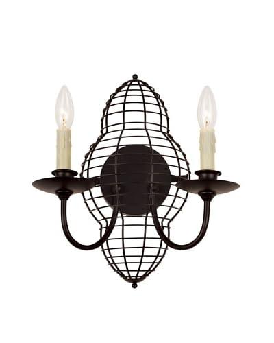 Bel Air Lighting French Basket Black 2-Light Wall Sconce