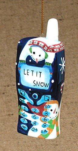 """""""Let It Snow"""" Snowman Patterned Cell Phone Christmas Ornament 4"""" #W6773"""