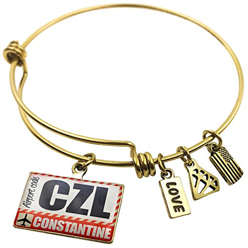 Expandable Wire Bangle Bracelet Airportcode CZL Constantine, Neonblond (Constantine Wire compare prices)