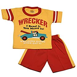 Wrecker print t-shirt with cotton pant (Yellow)