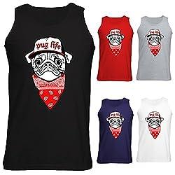 Mens Pug Life Dog Puppy Bandana Hip Hop Funny Vest Tank Top