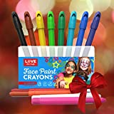 Face Paint Sticks- Safe, Non Toxic 12 Vibrant Color Palette. Face & Body Painting Kit with Easy to Apply and Clean Long Lasting Twist Up Crayons.18 FREE stencils & E-book.Ideal for Christmas Stockings